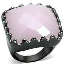 Load image into Gallery viewer, LOA887 Ruthenium Brass Ring with Synthetic in Light Rose
