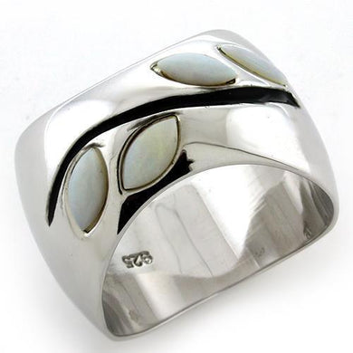 LOAS1080 Rhodium 925 Sterling Silver Ring with Semi-Precious in White