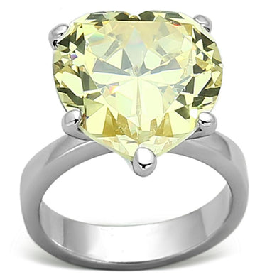 LOAS947 - Rhodium 925 Sterling Silver Ring with AAA Grade CZ  in Citrine Yellow