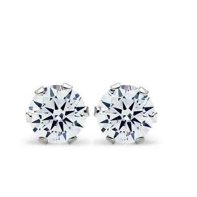 LOS051 - Rhodium 925 Sterling Silver Earrings with AAA Grade CZ  in Clear