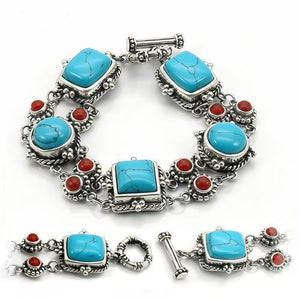 LOS270 Antique Tone 925 Sterling Silver Bracelet with Semi-Precious in Turquoise