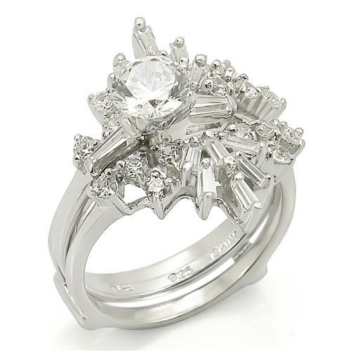 LOS271 Rhodium 925 Sterling Silver Ring with AAA Grade CZ in Clear