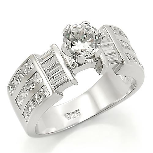 LOS280 Rhodium 925 Sterling Silver Ring with AAA Grade CZ in Clear