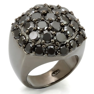LOS302 Ruthenium 925 Sterling Silver Ring with AAA Grade CZ in Jet