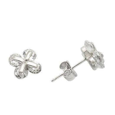 LOS305 - Rhodium 925 Sterling Silver Earrings with AAA Grade CZ  in Clear