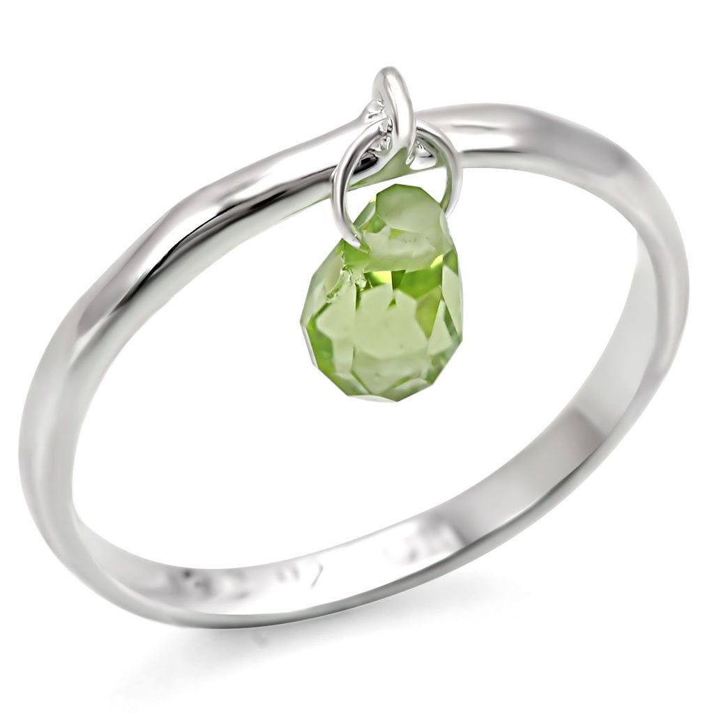 LOS321 Silver 925 Sterling Silver Ring with Genuine Stone in Peridot