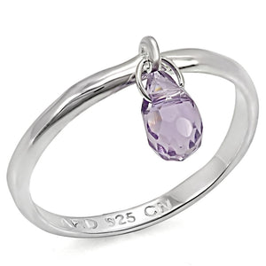 LOS325 Silver 925 Sterling Silver Ring with Genuine Stone in Amethyst