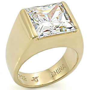 LOS375 Gold 925 Sterling Silver Ring with AAA Grade CZ in Clear