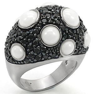 LOS376 Rhodium + Ruthenium 925 Sterling Silver Ring with Milky CZ in White