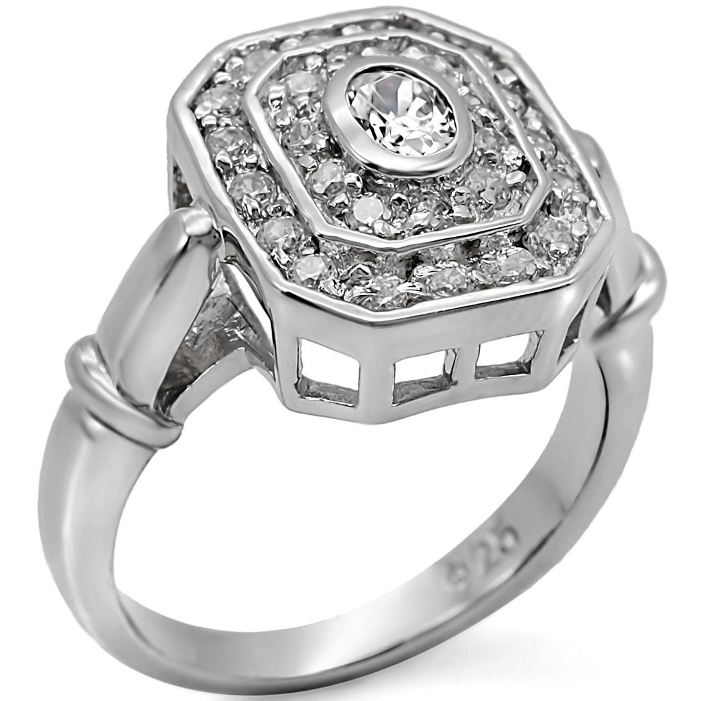 LOS381 Rhodium 925 Sterling Silver Ring with AAA Grade CZ in Clear