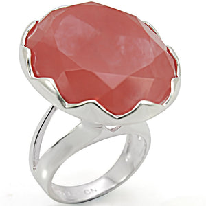 LOS388 Silver 925 Sterling Silver Ring with Synthetic in Light Peach