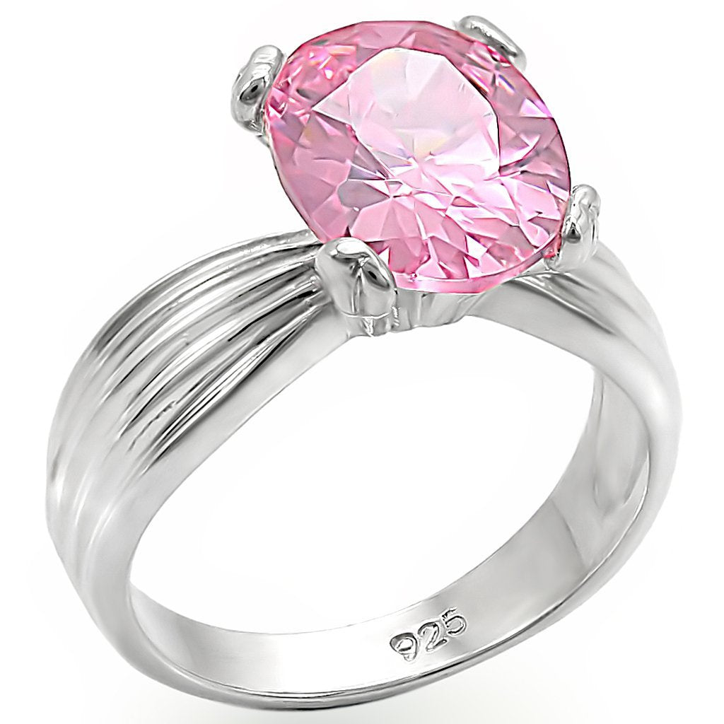 LOS393 High-Polished 925 Sterling Silver Ring with AAA Grade CZ in Rose