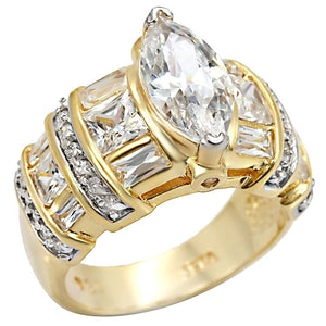 LOS414 Gold+Rhodium 925 Sterling Silver Ring with AAA Grade CZ in Clear