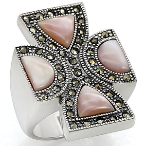 LOS458 Antique Tone 925 Sterling Silver Ring with Precious Stone in Rose