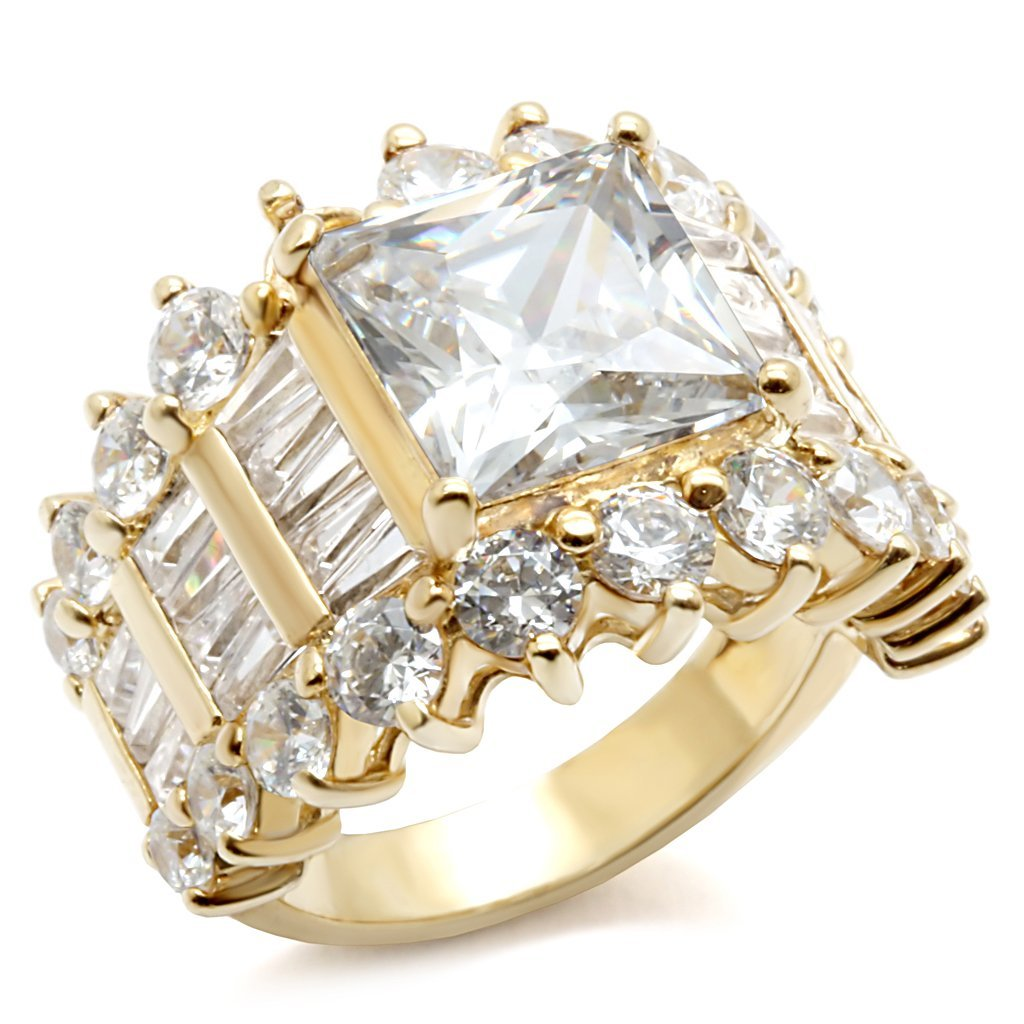 LOS481 Gold 925 Sterling Silver Ring with AAA Grade CZ in Clear