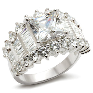 LOS482 Rhodium 925 Sterling Silver Ring with AAA Grade CZ in Clear
