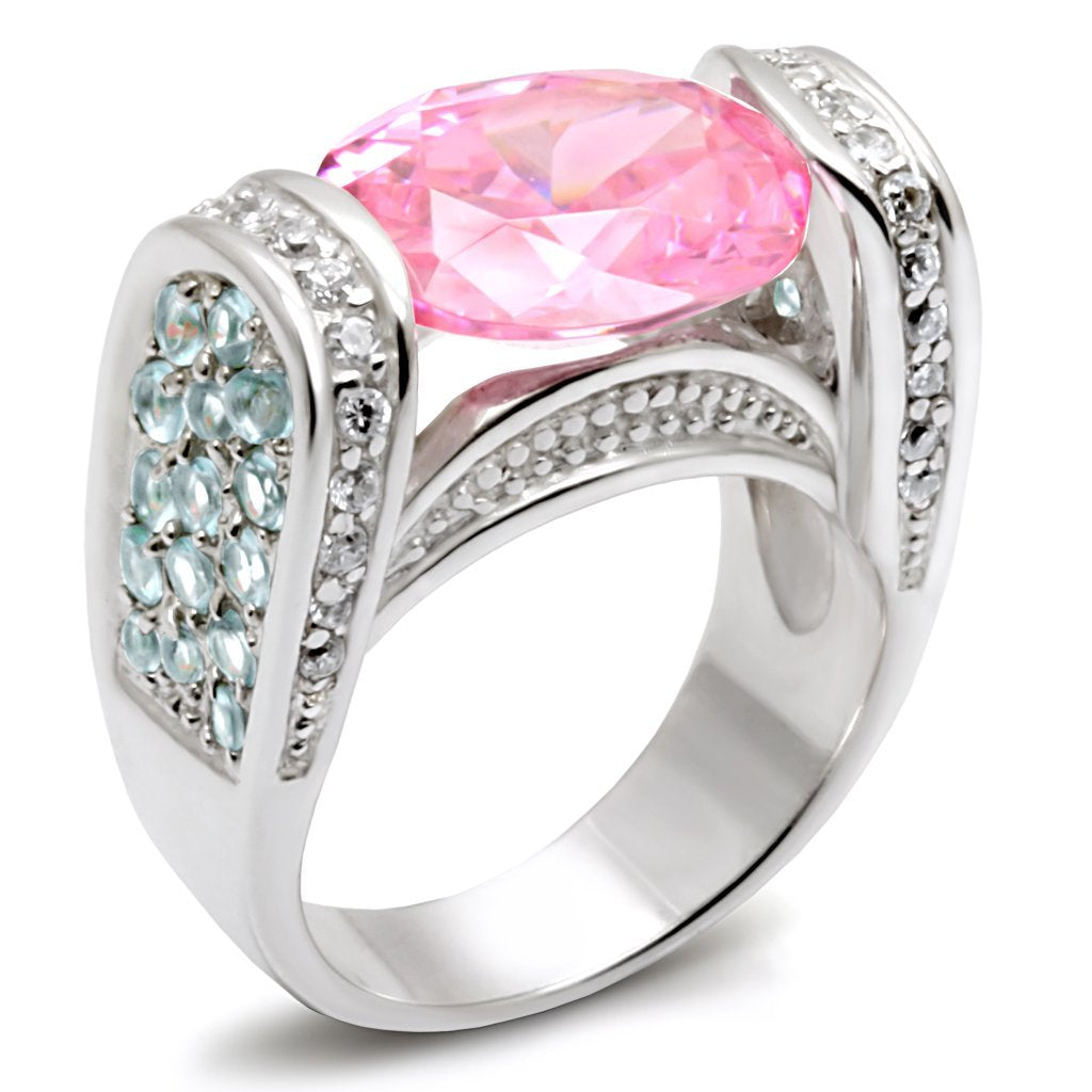 LOS488 Silver 925 Sterling Silver Ring with AAA Grade CZ in Rose