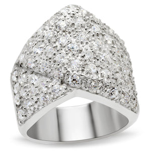 LOS522 Silver 925 Sterling Silver Ring with AAA Grade CZ in Clear