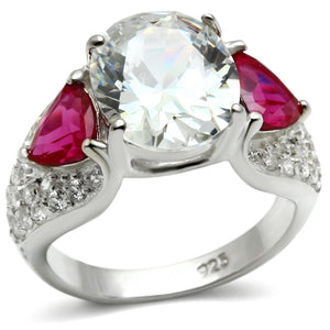 LOS531 Rhodium 925 Sterling Silver Ring with AAA Grade CZ in Ruby