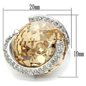 LOS540 Silver 925 Sterling Silver Ring with AAA Grade CZ in Champagne