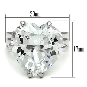 LOS543 Silver 925 Sterling Silver Ring with AAA Grade CZ in Clear