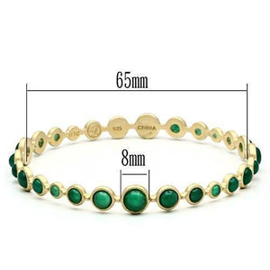 LOS550 Matte Gold 925 Sterling Silver Bangle with Semi-Precious in Emerald
