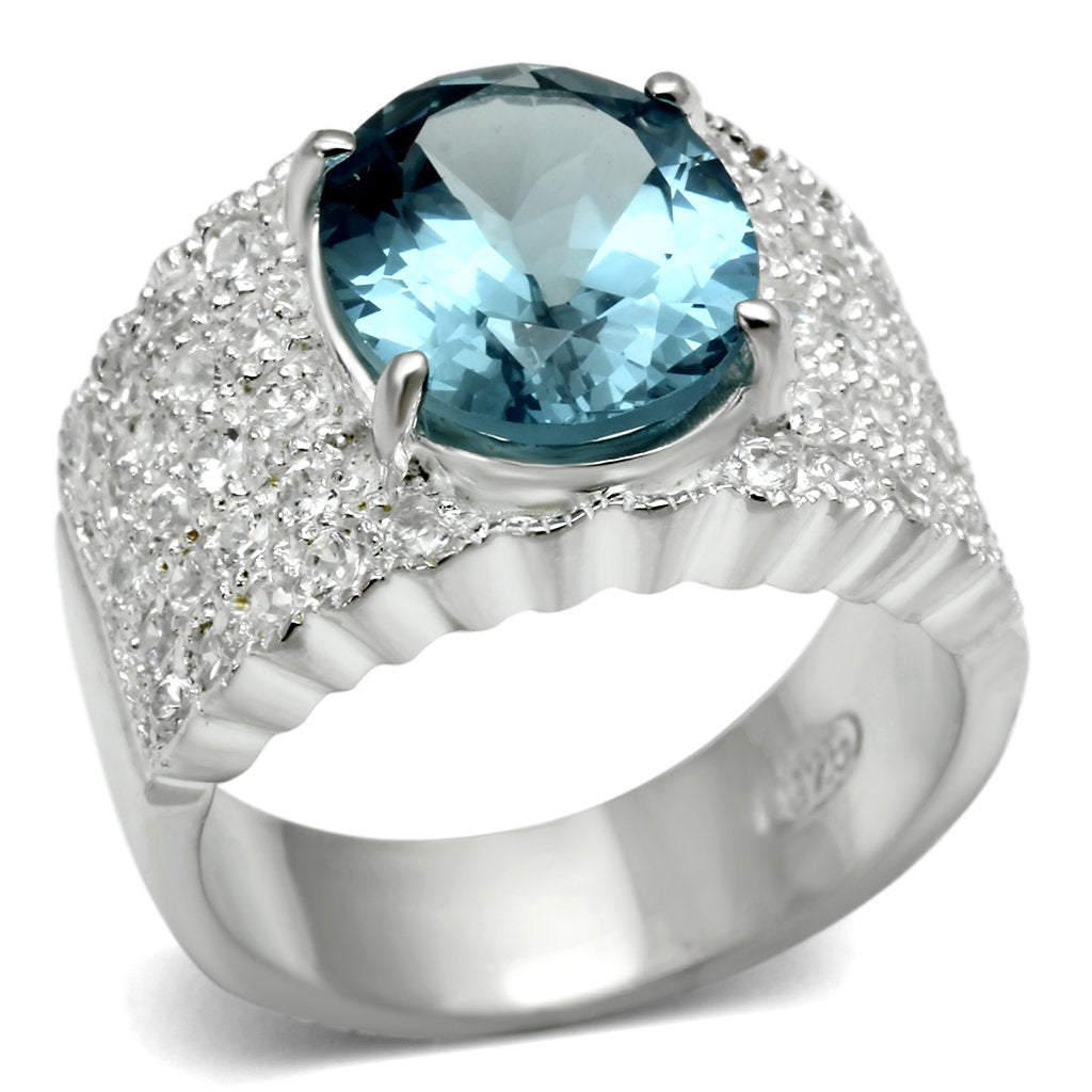 LOS551 Silver 925 Sterling Silver Ring with Synthetic in Sea Blue