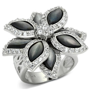 LOS555 Rhodium 925 Sterling Silver Ring with Precious Stone in Jet