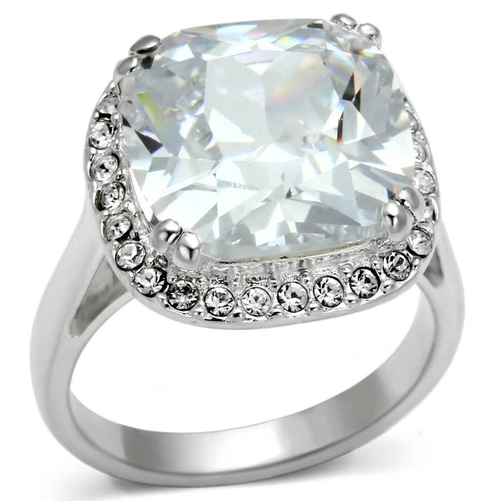 LOS561 Silver 925 Sterling Silver Ring with AAA Grade CZ in Clear