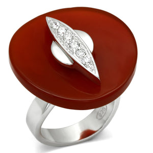 LOS565 Rhodium 925 Sterling Silver Ring with Semi-Precious in Garnet