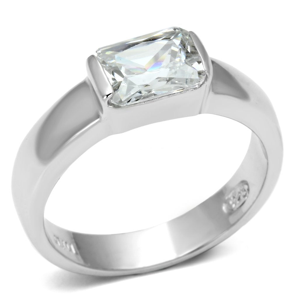 LOS588 Rhodium 925 Sterling Silver Ring with AAA Grade CZ in Clear