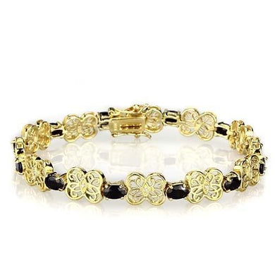 LOS602 Gold 925 Sterling Silver Bracelet with AAA Grade CZ in Jet