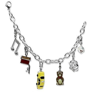 LOS604 Silver 925 Sterling Silver Bracelet with Top Grade Crystal in Clear