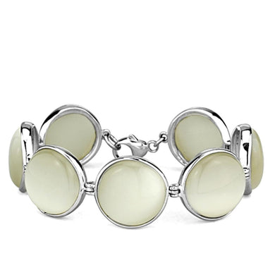 LOS762 High-Polished 925 Sterling Silver Bracelet with Synthetic in White