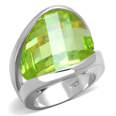 LOS832 Rhodium 925 Sterling Silver Ring with AAA Grade CZ in Apple Green color