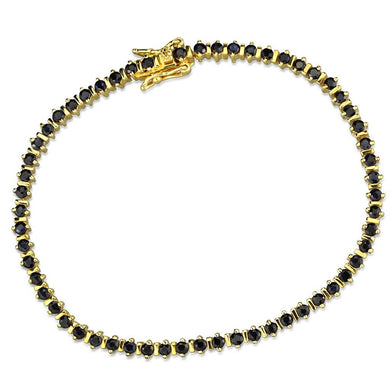 LOS838 Gold 925 Sterling Silver Bracelet with AAA Grade CZ in Jet