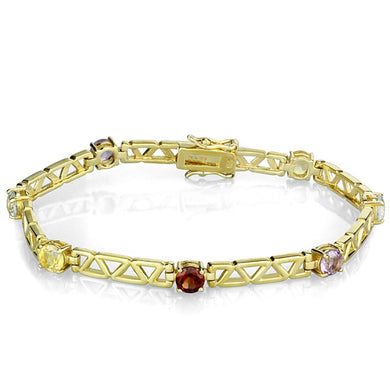LOS840 Gold 925 Sterling Silver Bracelet with AAA Grade CZ in Multi Color