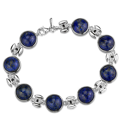 LOS844 Rhodium 925 Sterling Silver Bracelet with Precious Stone in Montana