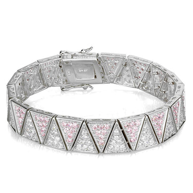 LOS845 Rhodium 925 Sterling Silver Bracelet with AAA Grade CZ in Rose