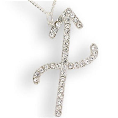 SNK11 - Silver Brass Chain Pendant with Top Grade Crystal  in Clear