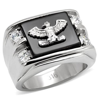 TK02221 High polished (no plating) Stainless Steel Ring with Semi-Precious in Jet