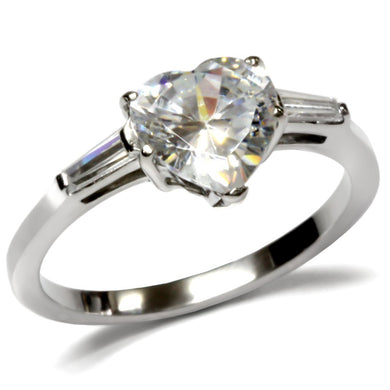 TK027 High polished (no plating) Stainless Steel Ring with AAA Grade CZ in Clear