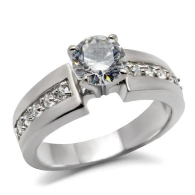 TK068 - High polished (no plating) Stainless Steel Ring with AAA Grade CZ  in Clear