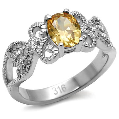 TK080 High polished (no plating) Stainless Steel Ring with AAA Grade CZ in Champagne