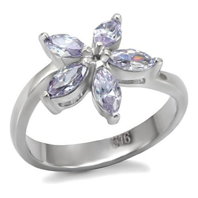 TK084 - High polished (no plating) Stainless Steel Ring with AAA Grade CZ  in Light Amethyst