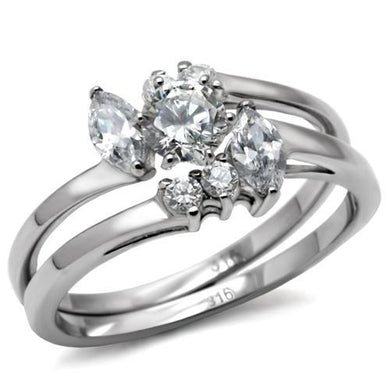 TK096 - High polished (no plating) Stainless Steel Ring with AAA Grade CZ  in Clear