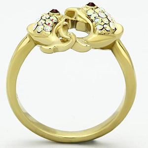 TK1023 IP Gold(Ion Plating) Stainless Steel Ring with Top Grade Crystal in Multi Color