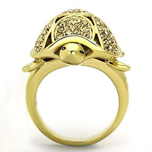 TK1035 IP Gold(Ion Plating) Stainless Steel Ring with Top Grade Crystal in Citrine Yellow