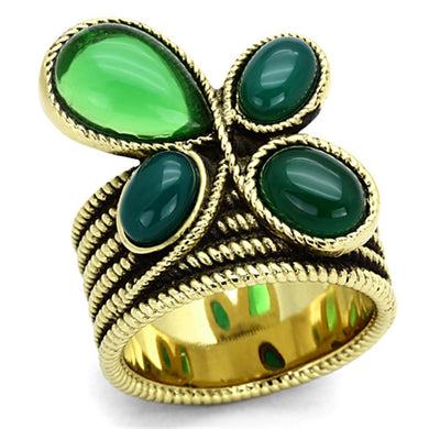 TK1104 - IP Gold(Ion Plating) Stainless Steel Ring with Synthetic Synthetic Glass in Emerald