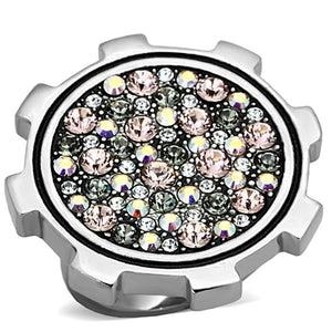 TK1113 High polished (no plating) Stainless Steel Ring with Top Grade Crystal in Multi Color
